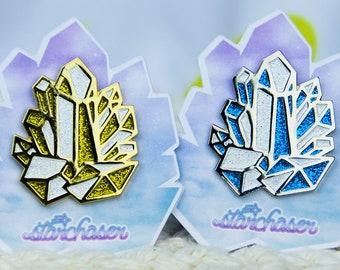 Crystal Cluster Metallic Glitter Enamel Pin Fairy Kei Pastel Goth Creepy Cute