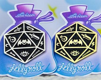 Jelly Roll Polyhedral Dice D20 Enamel Pin Fairy Kei Pastel Goth Creepy Cute
