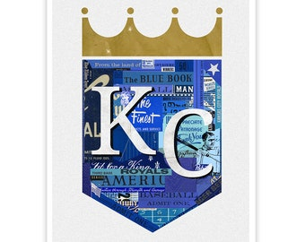 Reproduction d'Art - reproduction d'Art Illustration Collage - KC ROYALS de Kansas City Royals