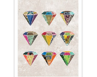 Colorful Diamond Print - Collage Art Poster - Framable Wall Art Collage Illustration