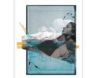 Mountain Myth - Collage Illustration Art Print Wall Decor