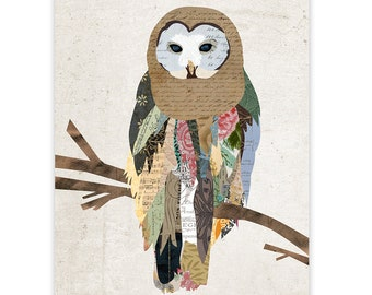 Hibou Art Print - chouette Collage Poster Print - Fine Art Collage Illustration Print