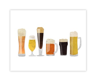 Beer Glass Art Print - Beer Poster Collage Illustration