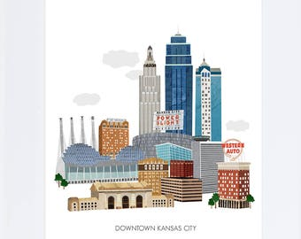 Kansas City Art Print - Collage Illustration impression d'Art Poster
