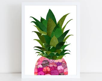 Pineapple Art Print - Wall Art - Collage Poster Print