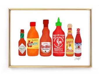 Hot Sauce Bottles Illustration - Art Print