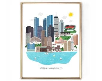 Boston Skyline Illustration - Art Print