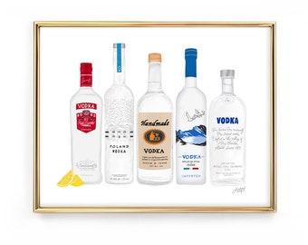 Vodka Bottles Illustration - Art Print