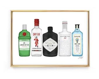Gin Bottles Illustration - Art Print