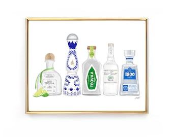 Tequila Bottles Illustration - Art Print