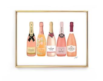 Rose Champagne Bottles Illustration - Art Print
