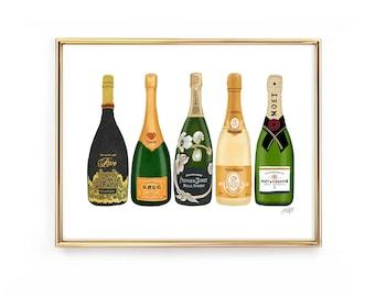 Champagne Bottles Illustration - Art Print