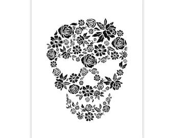 Flower Skull Art Print - Hand Drawn Illustration Poster