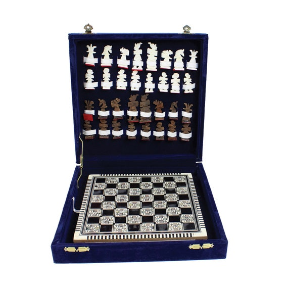 Brand New Egyptian Mother Of Pearl Chess Set - LG