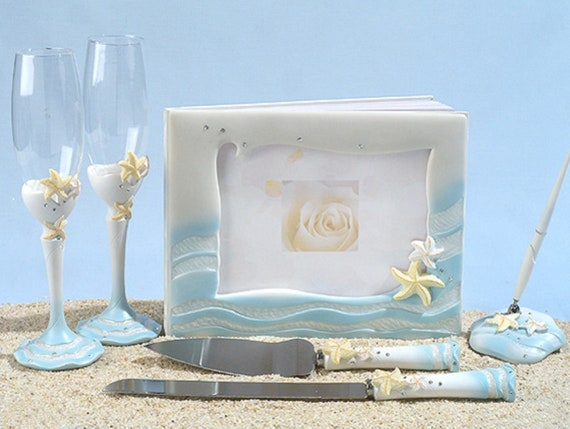 Starfish Beach Wedding Guest Book, Pen, Toasting Flutes and Cake Server Set