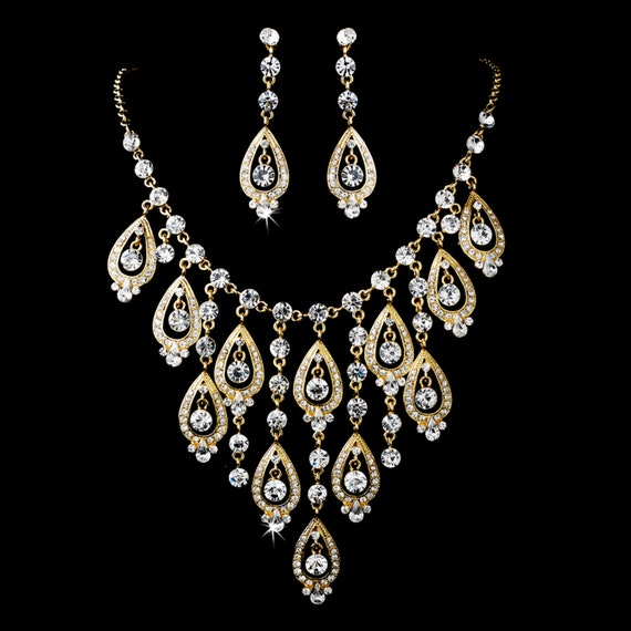 Gold Clear Pear Shape Necklace Earring Set