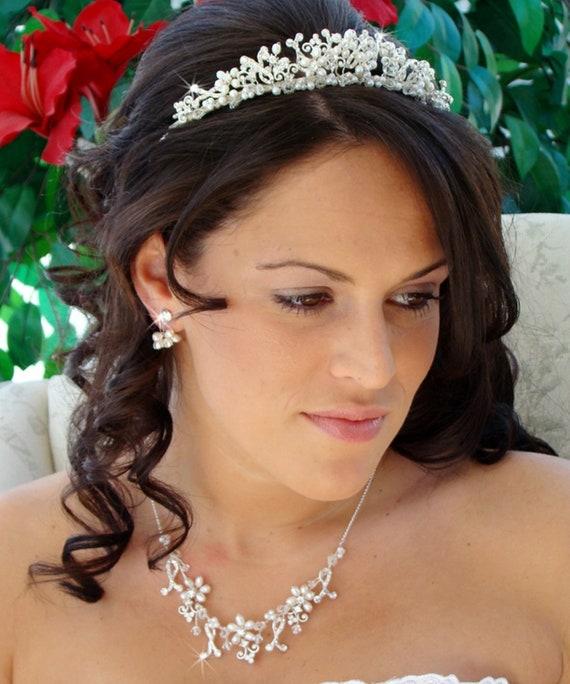 3pc Pearl and Crystal Jewelry Tiara Set