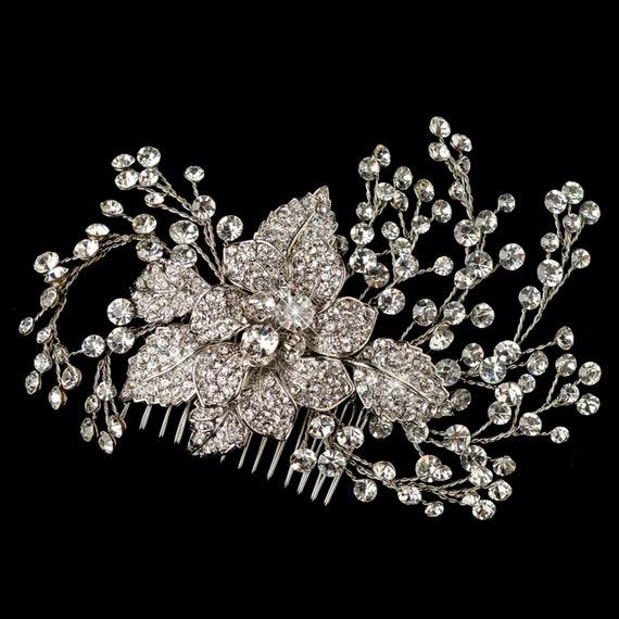 Beautiful Rhodium Clear Rhinestone Flower & Vine Couture Comb