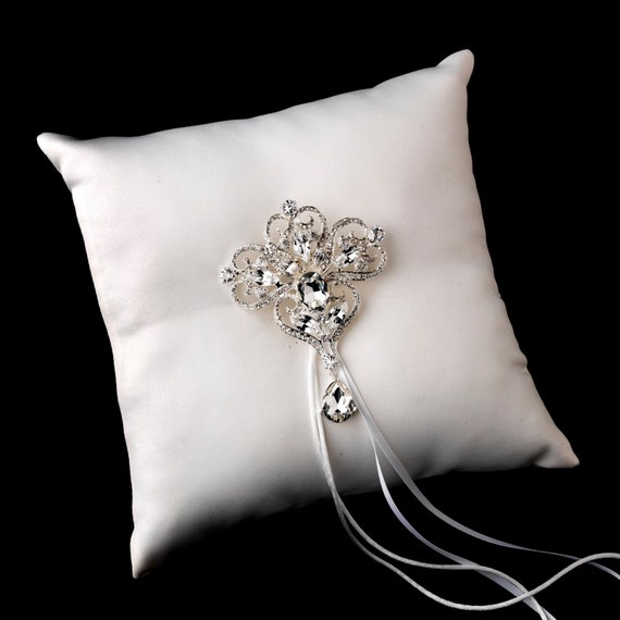 Satin Ring Pillow with Crystals and Rhinestones Brooches Assorted