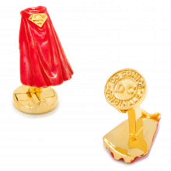 Men's 3D Superman Cape and  Carbon Fiber Superman Cufflinks