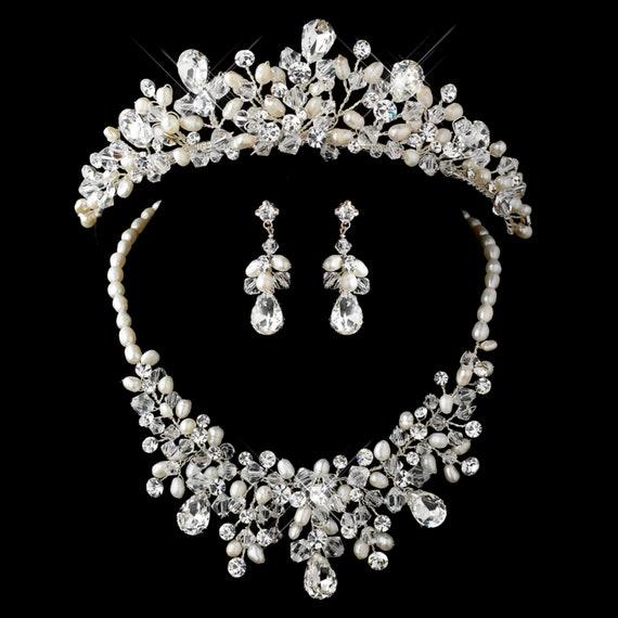 3pc Silver Freshwater Pearl Swarovski Crystal Bead Rhinestone Tiara Headpiece