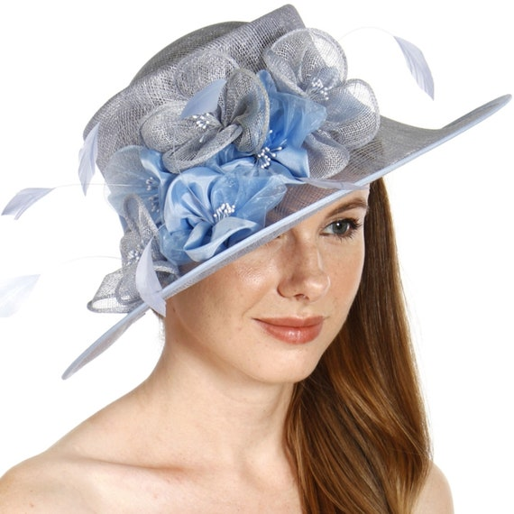 Sinamay Dress Hat with feather and flower