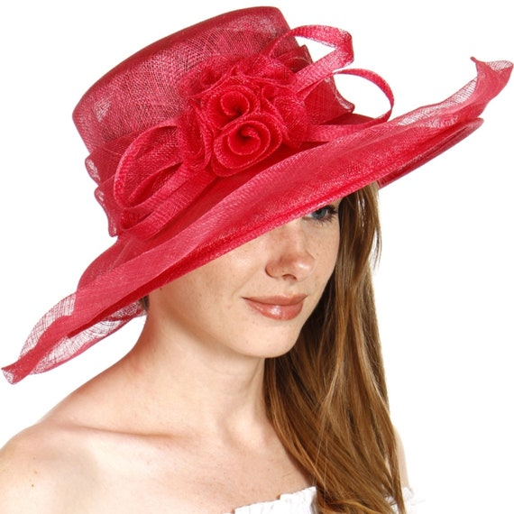 Gorgeous Formal Rose Sinamay Dress Hat