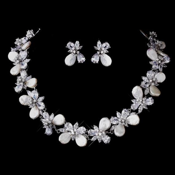 Elegant Pearl & CZ Necklace Earring Set
