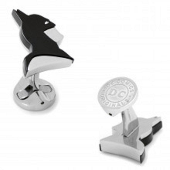 Mens and Boys Stainless Steel Batman Profile Cufflinks