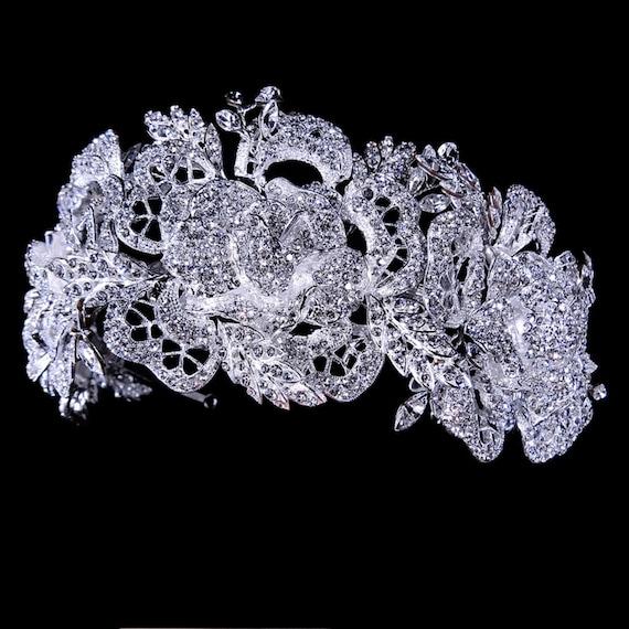 Stunning Sparkling Rhinestone Silver Bridal Tiara Headpiece