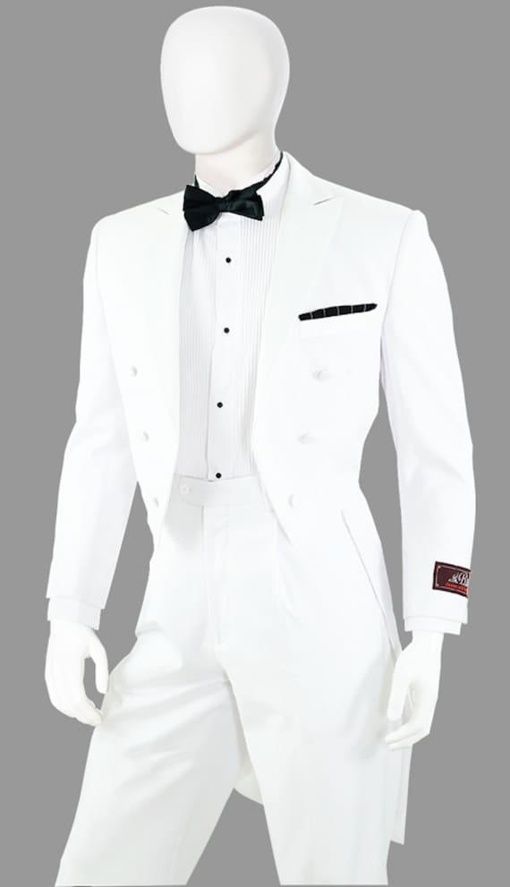 Men's 2pc White/Black Tuxedo With Tails