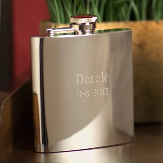Mens Grooms Party Favor High Polish Engraved Stainless Steel Flask