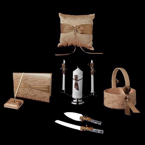 Brown Ribbon & Gold Heart Reception Set