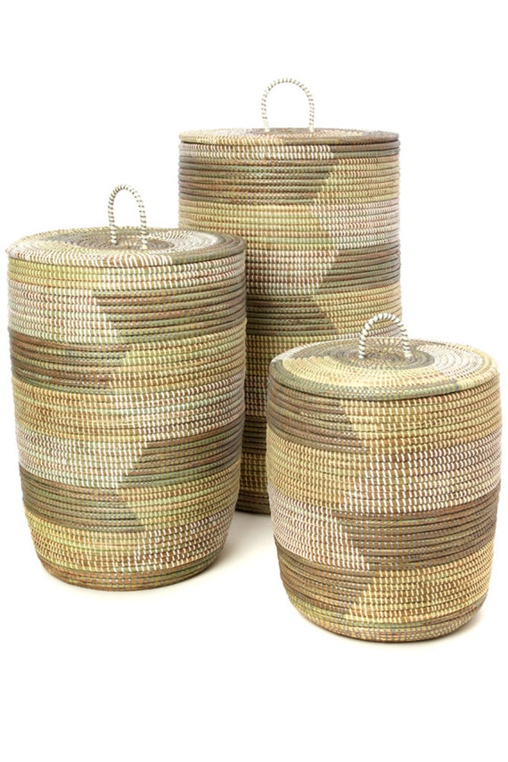 Set of Three White, Cream & Gray Sahara Hamper Baskets