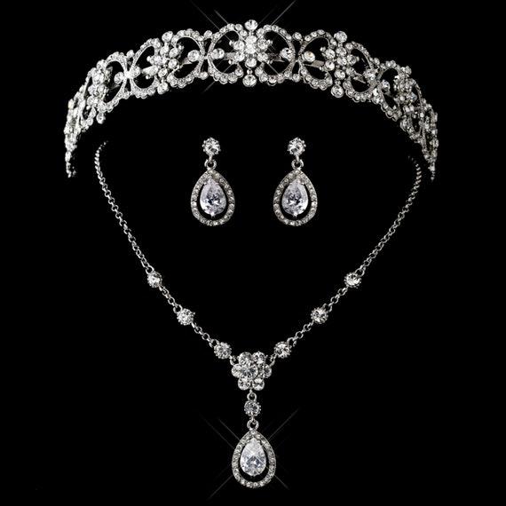 3pc Antique Silver Clear CZ Crystal Rhinestone Tiara Headpiece Jewelry Set