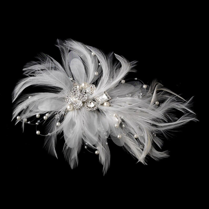 Incandescent Silver Clear Rhinestone /& Ivory Feather Bridal Comb