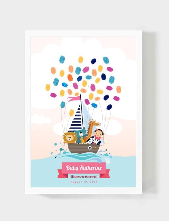 Baby Dusche Gastebuch Madchen Geburtstag Fingerabdruck Etsy