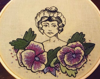 Gibson Girl Floral Embroidery