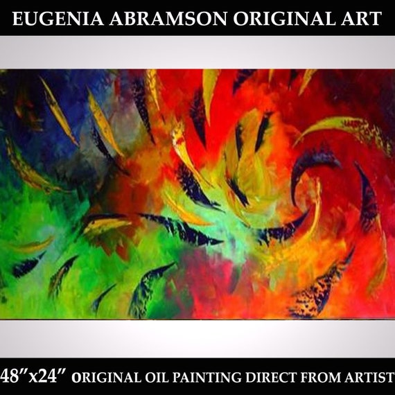 Big Abstract Canvas Art Modern Oil Painting Original Artwork Bright Colorful Canvas Large Painting 48x24 Hand Painted Art Eugenia Abramson