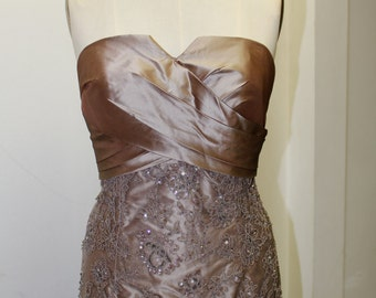 Strapless Gown with Lace Bottom