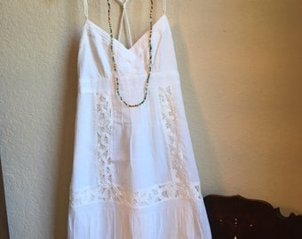 White Cotton Sun Dress With Lace Trim