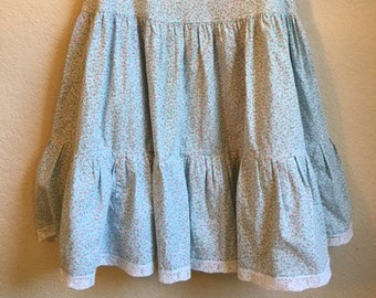 Vintage Calico Floral Print Prairie Skirt With Lace Trim