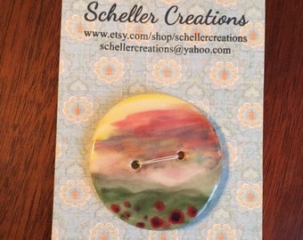 Handmade Ceramic Button With Landscape