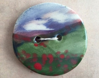 Hand Painted Ceramic Button Field Of Poppies