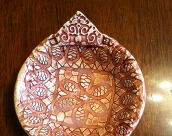 Handmade Ceramic Soap Dish With A Lace Pattern
