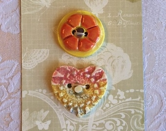 Handmade Ceramic Buttons ( Set Of 2 ) Hearts And Flowers