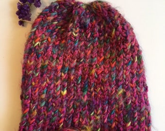 Hand Knitted Hat Soft And Warm With Colors Of Deep Pink And Blues