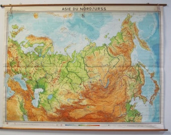 Vintage topographic map Etsy