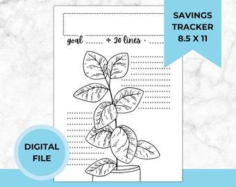 Plant Savings Tracker Printable PDF, Budget, Dave Ramsey, Saving