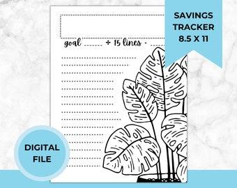 Plant Savings Tracker Printable PDF, Budget, Sinking Funds, Saving